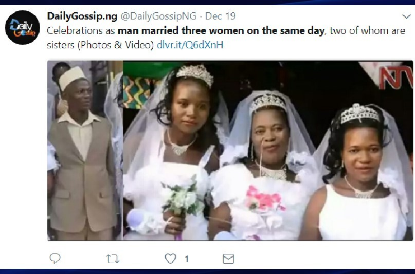 50-year-old man married 2 sisters and 3rd woman on same day because he couldn't afford 3 separate wedding ceremonies