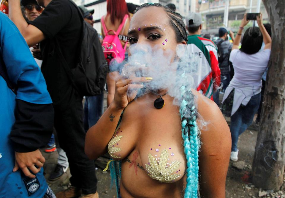 Thousands of cannabis smokers light up huge joints through watermelons and gas masks in march to legalise drug