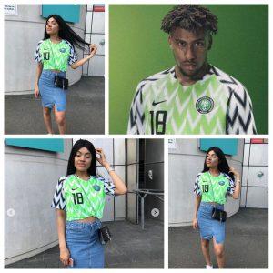 Iwobi's sister rocks the footballer's Super Eagles jersey no