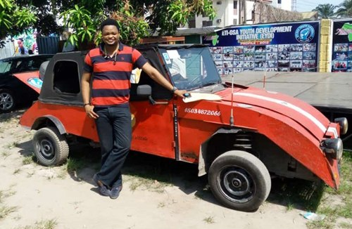 Talented Young Man Shows-off His Newly Invented made-in-Nigeria Car (Photos)