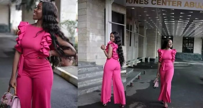 Davido's Girlfriend, Chioma Slays In Pink Jumpsuit (Photos)
