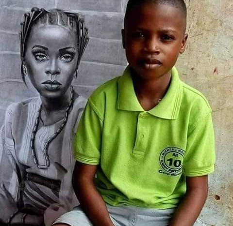 11 years Old Talented Boy Sketch Photo of Rihanna in Africa Attire