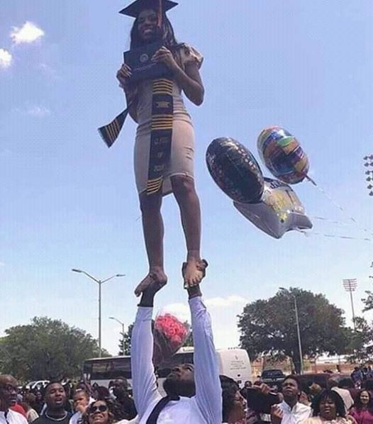 Nigerian Lady Pulls Dangerous Stunt to Celebrate Graduation