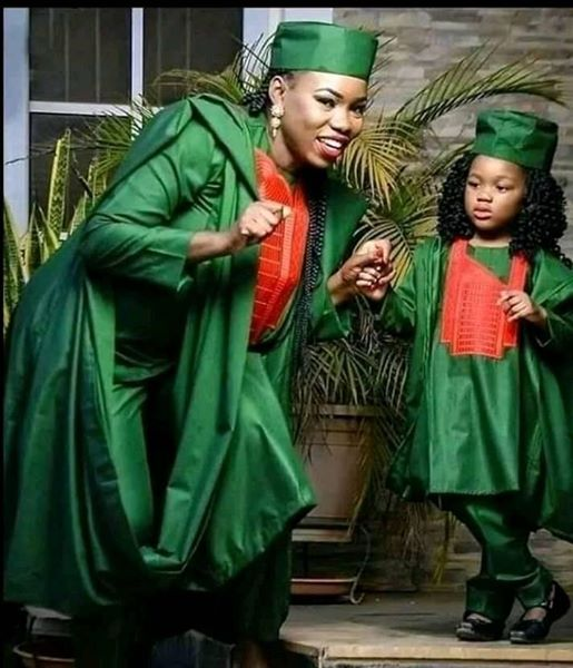Trending Photo of Mother and Little Daughter Dressed in Matching Agbada Outfit