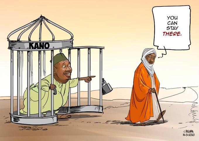 President Buhari and Governor Ganduje's aides react to cartoon on Sanusi's dethronement