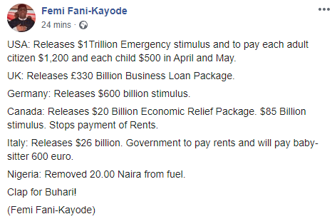 FFK compares what other countries are doing to empower citizens over coronavirus crisis to what president Buhari has done for Nigerians