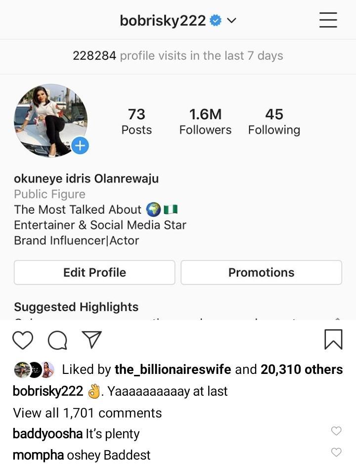 Instagram verifies bobrisky account