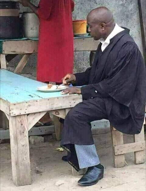Barrister Caught Eating Mama Put While on Duty
