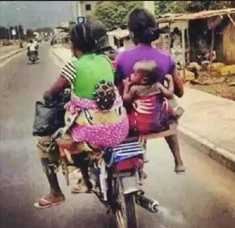 This is Nigeria – Okada Man Takes Dangerous James Bond Ride with Two Women