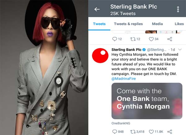Sterling Bank Offers Cynthia Morgan Deal after Square Records Allegedly Destroyed Her Career