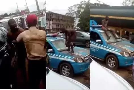 Tricycle Rider Goes Nak3d to Fight FRSC Officers in Edo State – Patrol Van Destroyed (VIDEO)