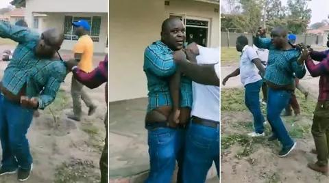 Zimbabwean Man Beaten Mercilessly For Trying to Chop His Oga's Wife