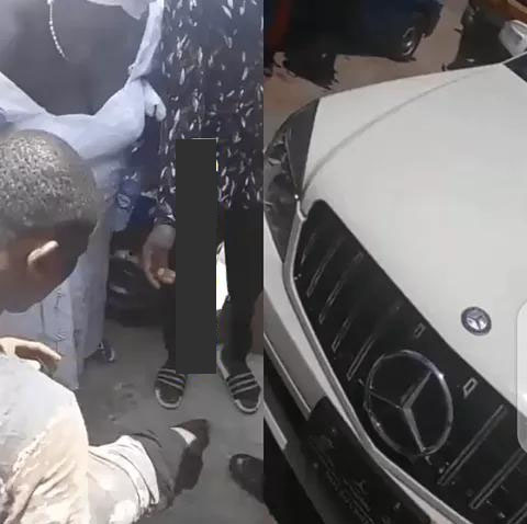 VIDEO: Yahoo Boy Runs Mad After Dropping Down from His Brand New White C300 Benz in Anambra state