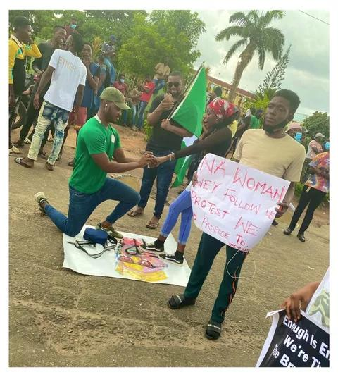 """Na Woman Way Follow Us Protest We Go Marry"" Guy Proposed to His Girlfriend During Protest"