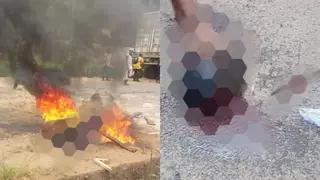 Police Officer Allegedly Beheaded And Roasted by Angry Youths In Anambra State