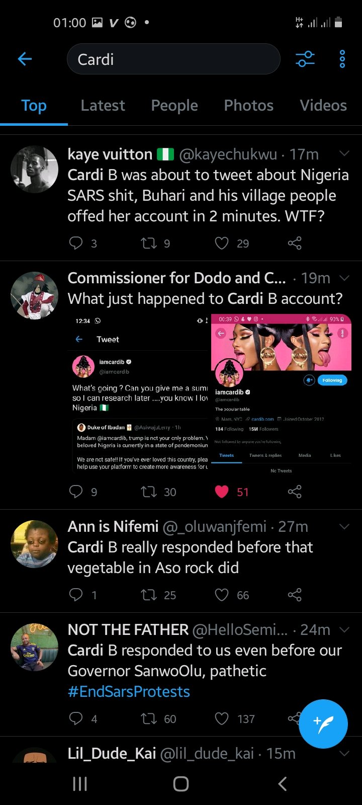 Cardi B's Account Gets Deactivated Moments After She Tweeted #ENDSARS