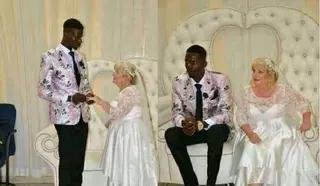 Older Oyibo Woman Goes On Her Kneel to Marry Her Young Nigerian Lover Boy