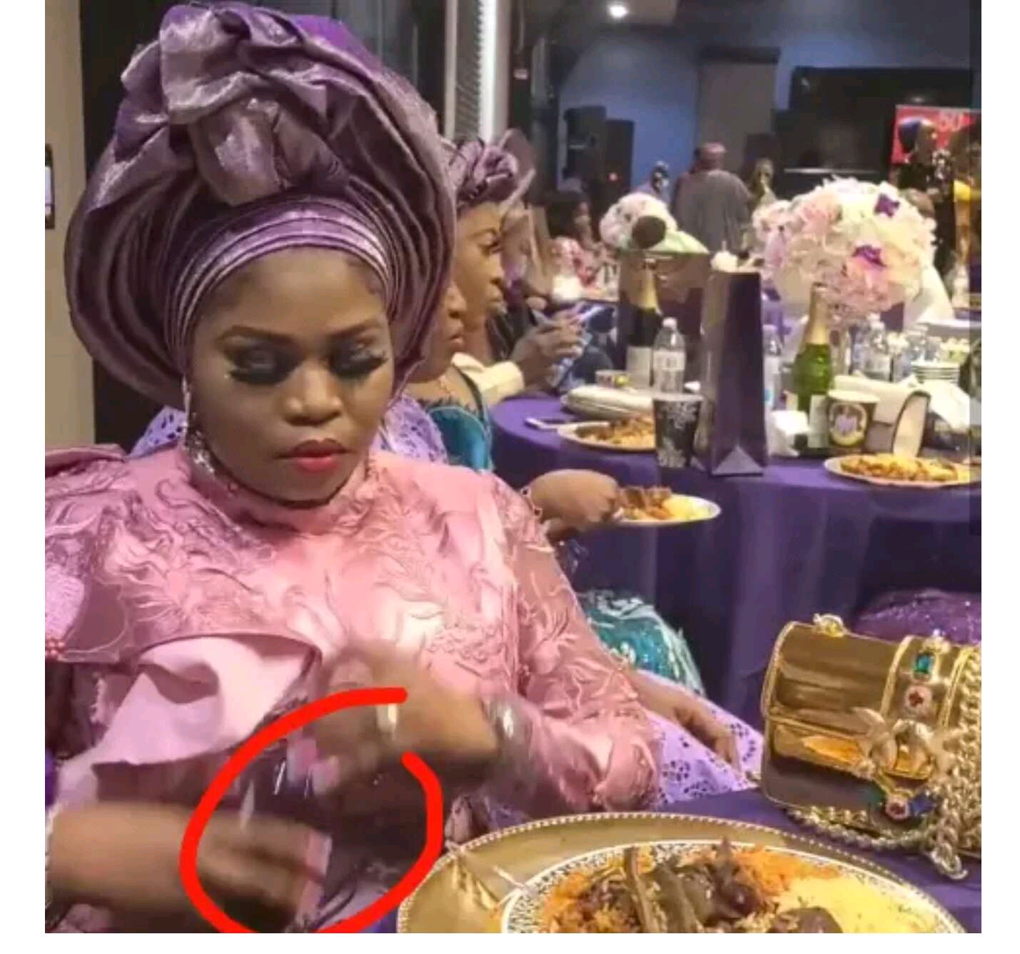 Popular Yoruba Actress Caught On Camera Wrapping Meat Inside Tissue to Take Home
