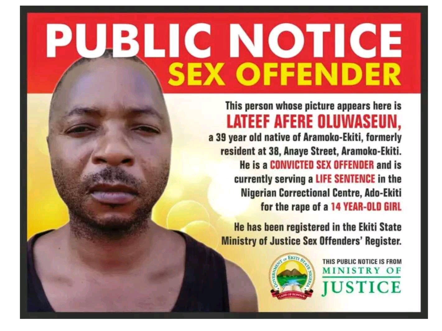 Ekiti State Government Publishes Name, Photo Of Man Jailed For Life For Sleeping With 14- Year- Old Girl