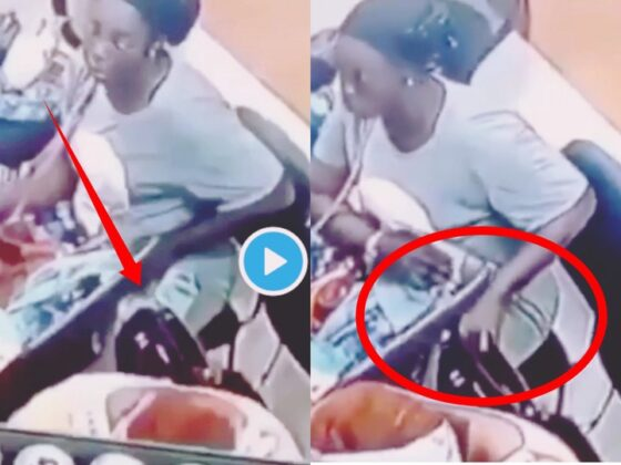 YAWA VIDEO: CCTV Catches Married Woman Stealing Phone From Another Woman's Bag
