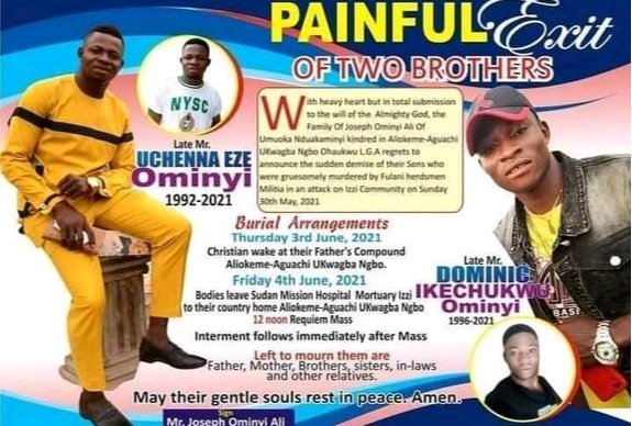 PAINFUL EXIT: See the Two Brothers Slaughtered by Fulani Herdsmen in Ebonyi State
