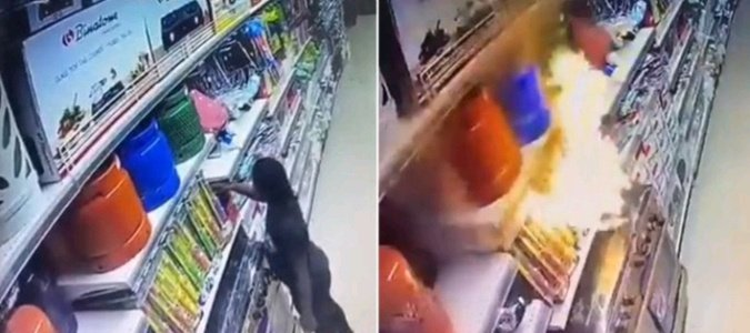 CCTV Footage of How 9-Year-Old Girl  Set Ebeano Supermarket on Fire in Abuja