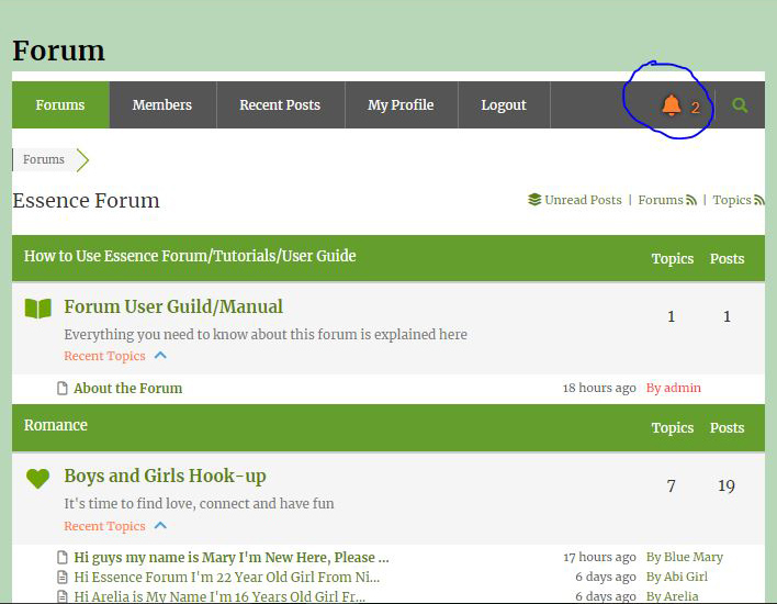How to View Notification on Essence Forum from Toktok9ja